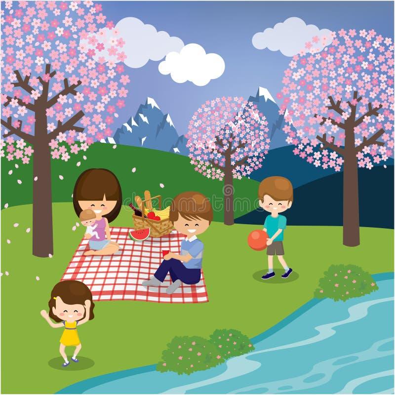 Ευτυχής χρόνος οικογενειακών εξόδων μαζί στο βουνό διανυσματική απεικόνιση