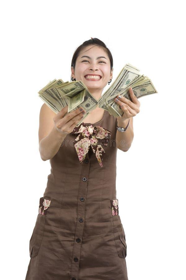 ευτυχής όμορφη γυναίκα χρ στοκ εικόνες