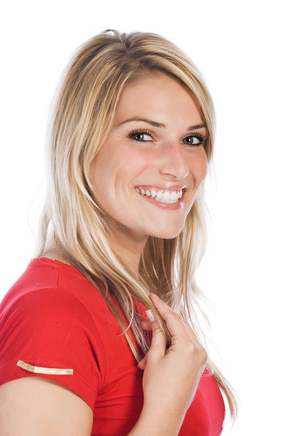 Ευτυχής όμορφη κυρία Wearing Red Shirt στοκ εικόνες