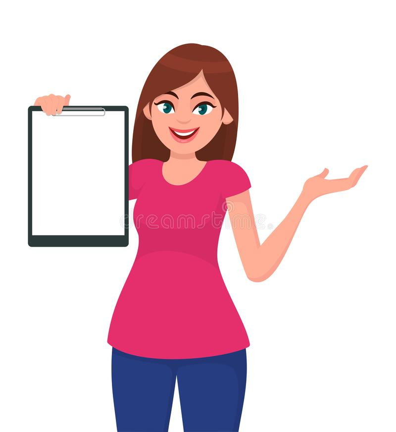 Ευτυχής όμορφη νέα γυναίκα που κρατά/που παρουσιάζει κενή περιοχή αποκομμάτων και που παρουσιάζει χέρι για να αντιγράψει τη διαστ απεικόνιση αποθεμάτων