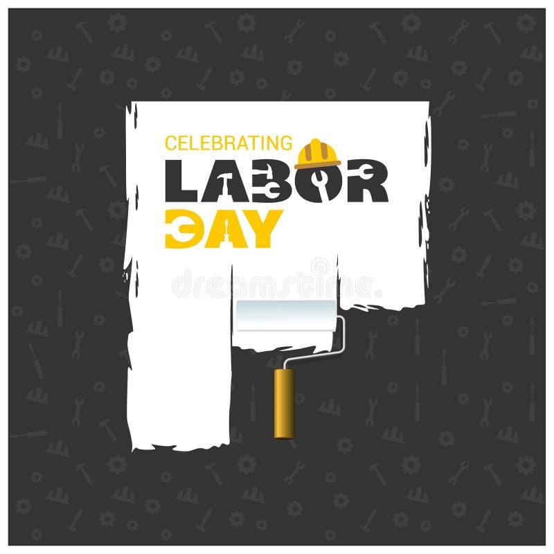Ευτυχής όμορφη τυπογραφία Εργατικής Ημέρας με τη ζωγραφική της βούρτσας σε ένα BL ελεύθερη απεικόνιση δικαιώματος