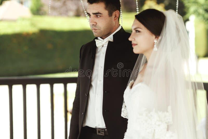 Ευτυχής όμορφος νεόνυμφος και όμορφη νύφη στο άσπρο φόρεμα στο weddi στοκ φωτογραφία με δικαίωμα ελεύθερης χρήσης