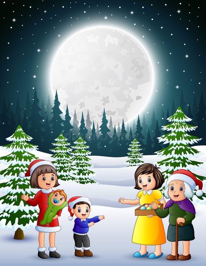 Ευτυχής familly στο χιονώδη κήπο τη νύχτα διανυσματική απεικόνιση