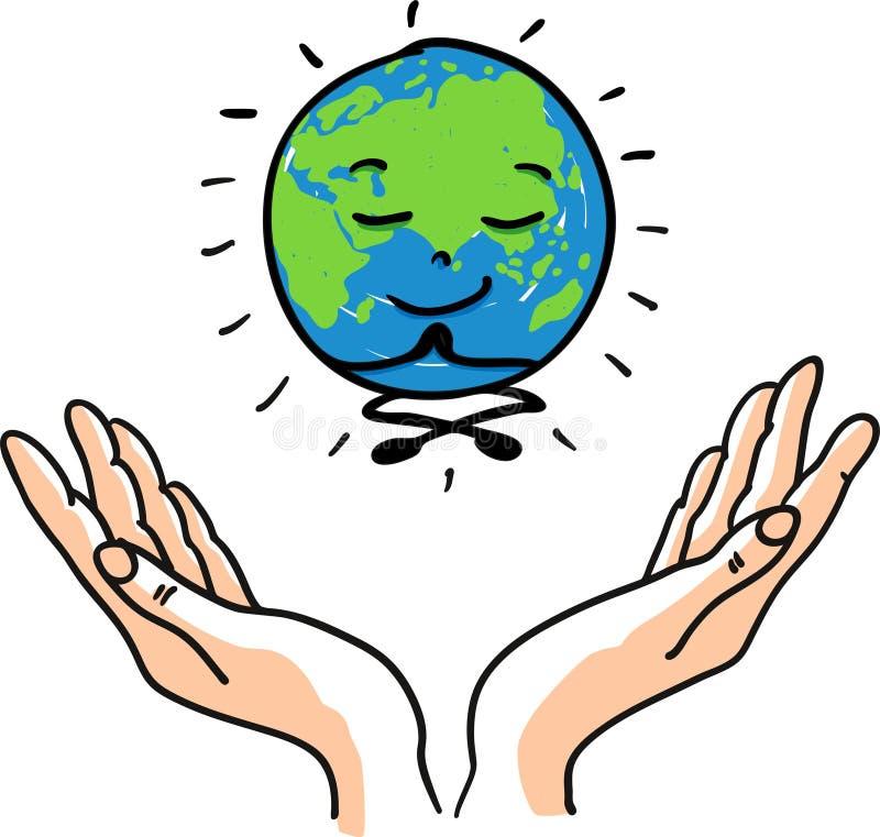 Ευτυχής meditating χαμόγελου χαμόγελου ευτυχής και διαφωτισμένη γήινη σφαίρα για την ευτυχή γήινη ημέρα - δώστε τη συρμένη διανυσ διανυσματική απεικόνιση