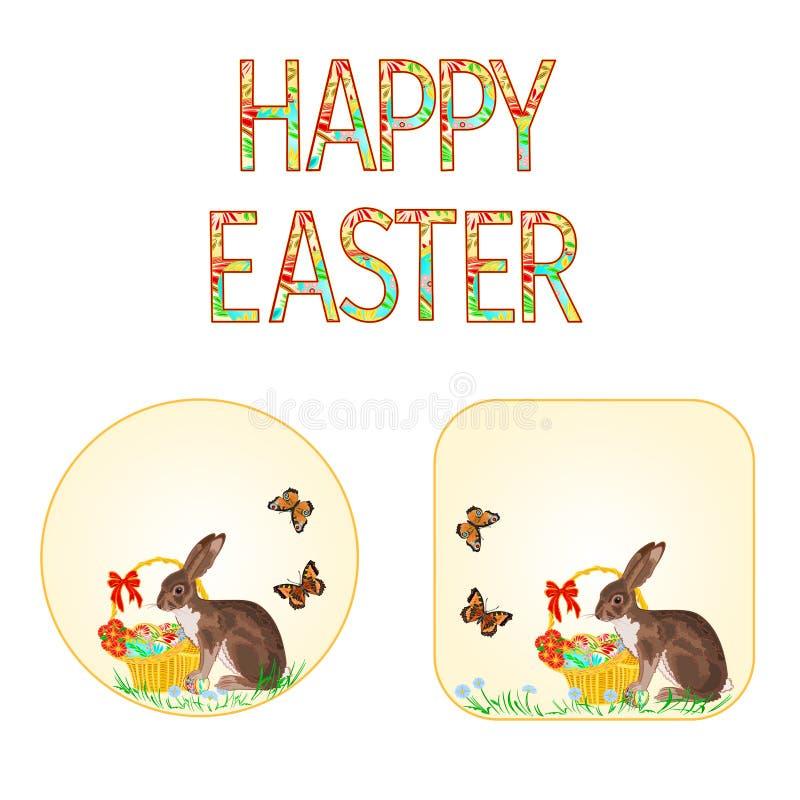 Ευτυχή λαγουδάκι και καλάθι Πάσχας κουμπιών με το διάνυσμα αυγών και πεταλούδων Πάσχας απεικόνιση αποθεμάτων