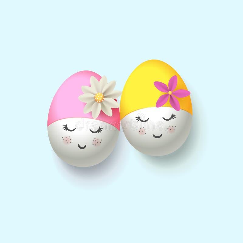 Ευτυχή αυγά Πάσχας με την αναδρομική κολύμβηση ΚΑΠ - ύφος δραστών παντομίματος pierrot ελεύθερη απεικόνιση δικαιώματος