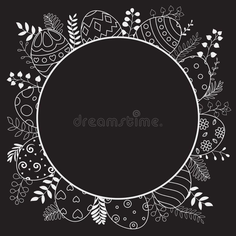 Ευτυχή αυγά Πάσχας με το μαύρο στρογγυλό πλαίσιο και περίκομψα αυγά στο άσπρο υπόβαθρο ελεύθερη απεικόνιση δικαιώματος