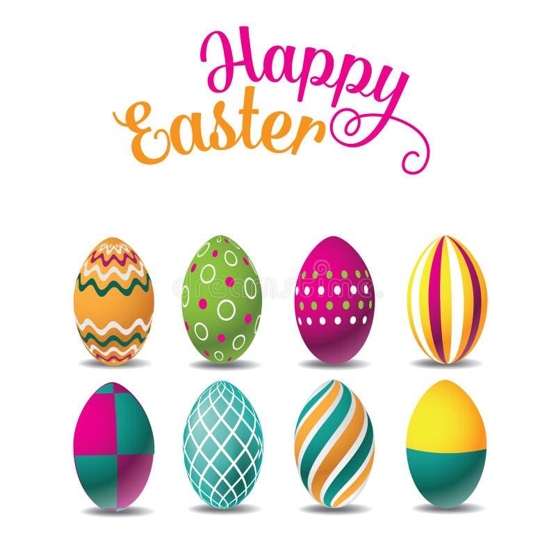 Ευτυχή αυγά Πάσχας που απομονώνονται στο λευκό διανυσματική απεικόνιση