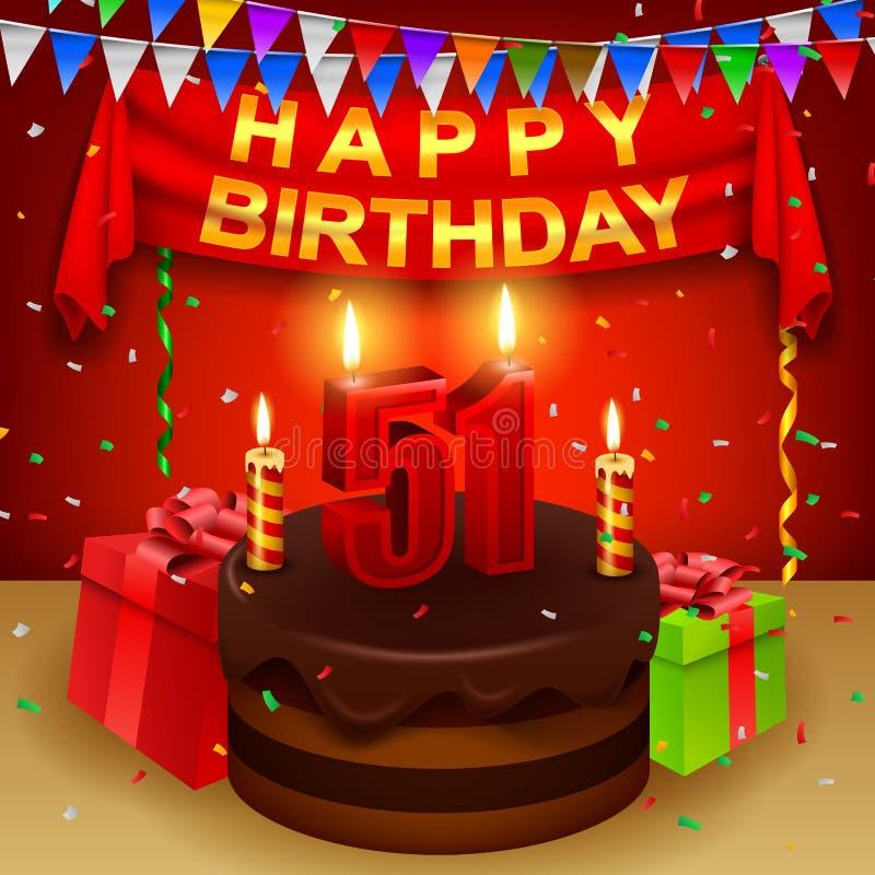 Ευτυχή 51$α γενέθλια με το κέικ κρέμας σοκολάτας και την τριγωνική σημαία απεικόνιση αποθεμάτων