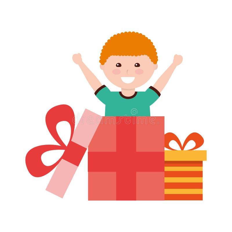 Ευτυχή γενέθλια κιβωτίων δώρων αγοριών που βγαίνουν διανυσματική απεικόνιση