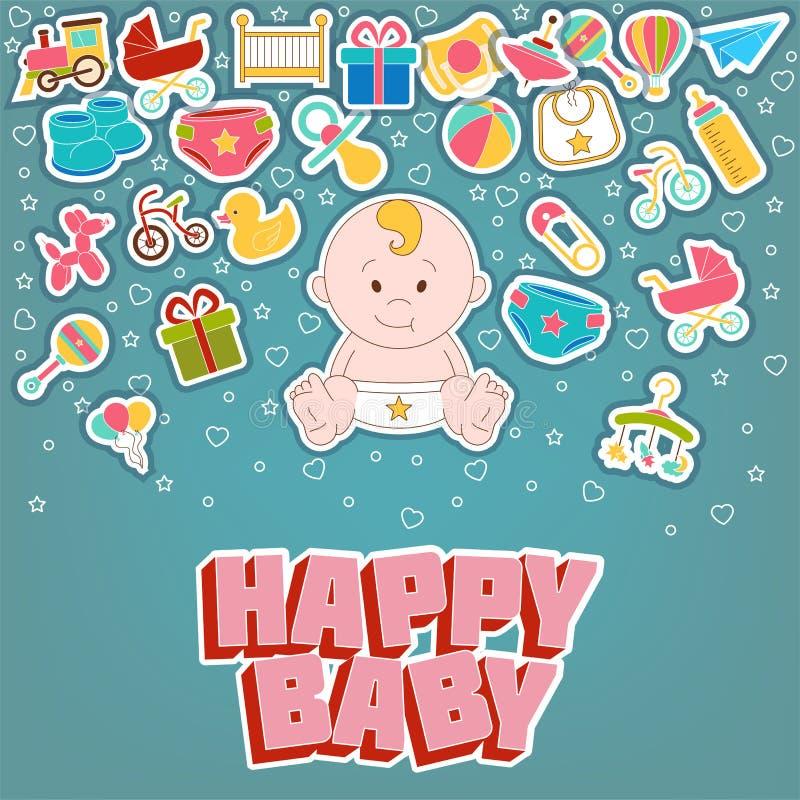 Ευτυχή εικονίδια μωρών καθορισμένα επίσης corel σύρετε το διάνυσμα απεικόνισης διανυσματική απεικόνιση