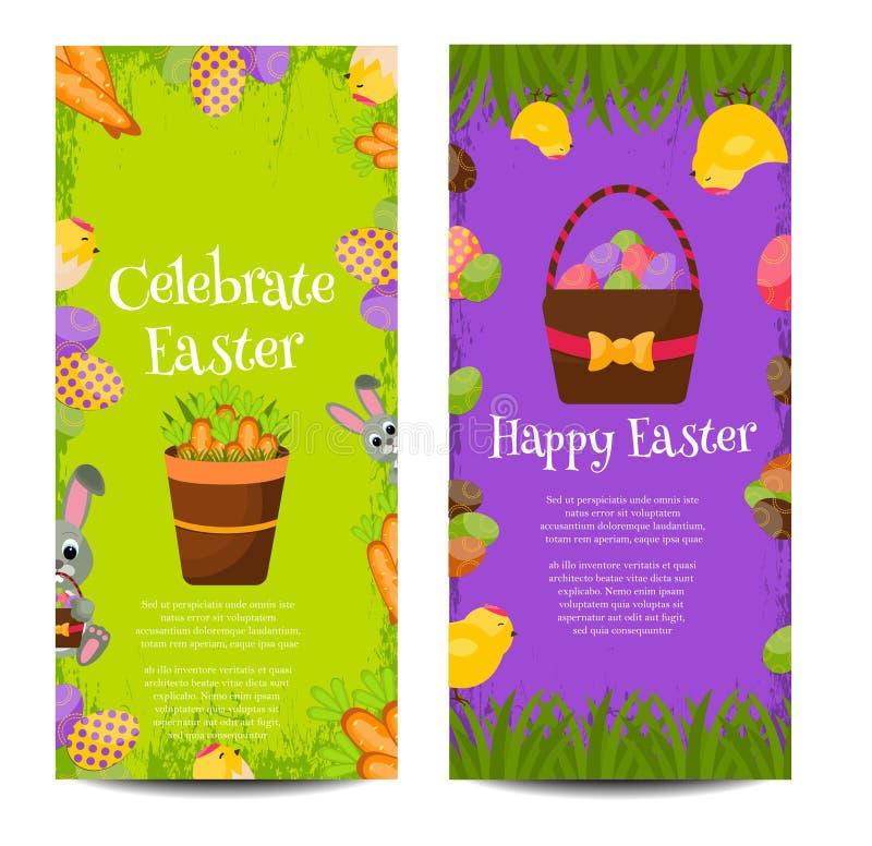 Ευτυχή εμβλήματα Πάσχας που τίθενται με τα ζωηρόχρωμα αυγά, κίτρινος νεοσσός, κρόκος, κέικ, κουνέλι λαγουδάκι, καρότα, ανθοδέσμη  ελεύθερη απεικόνιση δικαιώματος