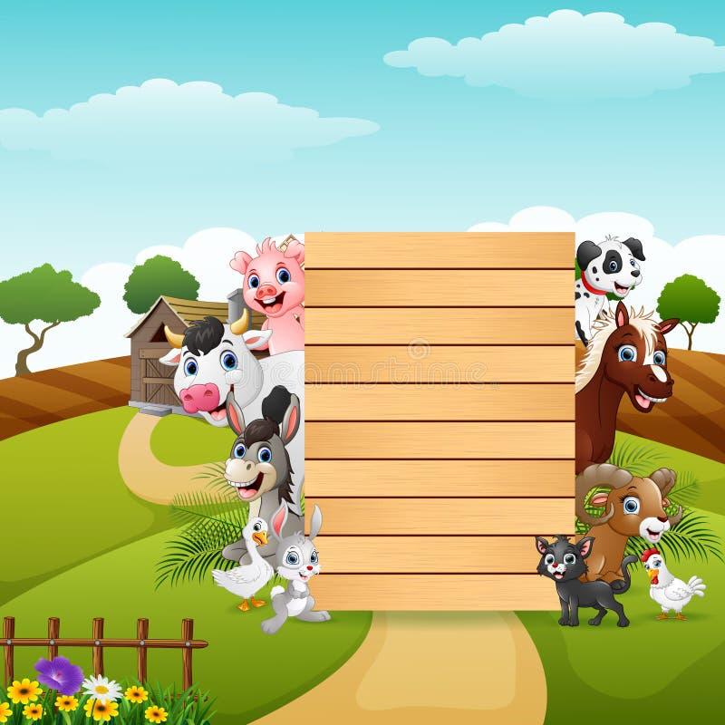 Ευτυχή ζώα αγροκτημάτων με το κενό μπαμπού σημαδιών ελεύθερη απεικόνιση δικαιώματος