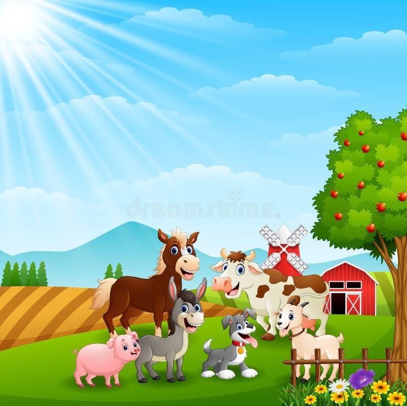 Ευτυχή ζώα στο αγροτικό υπόβαθρο διανυσματική απεικόνιση