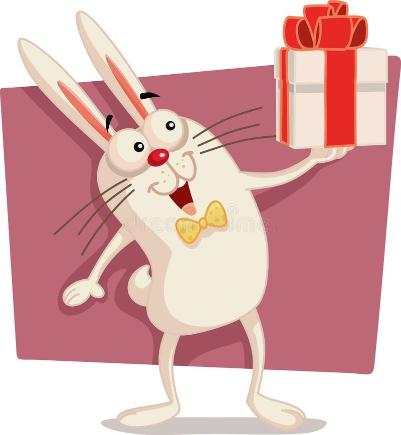 Ευτυχή διανυσματικά κινούμενα σχέδια κιβωτίων δώρων εκμετάλλευσης λαγουδάκι Πάσχας διανυσματική απεικόνιση