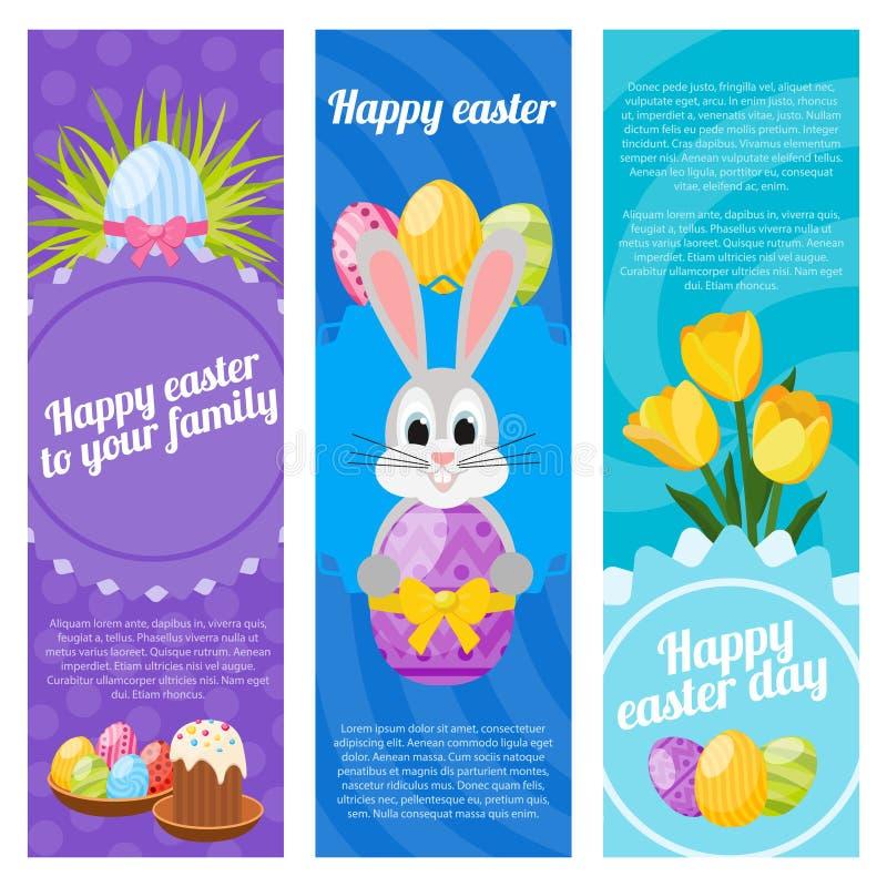 Ευτυχή κάθετα εμβλήματα ημέρας Πάσχας ελεύθερη απεικόνιση δικαιώματος