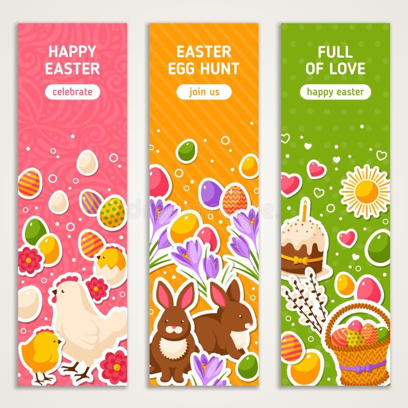 Ευτυχή κάθετα εμβλήματα Πάσχας καθορισμένα διανυσματική απεικόνιση
