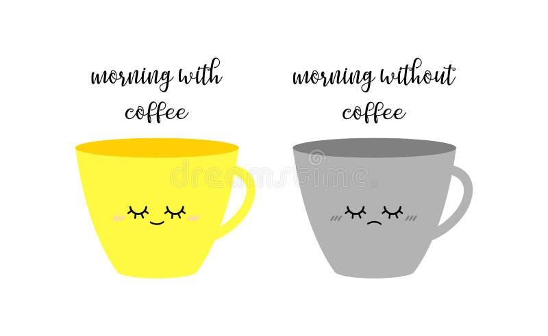 Ευτυχή κίτρινα και λυπημένα γκρίζα φλιτζάνια του καφέ Ευμετάβλητα φλυτζάνια καφέ πρωινού στοκ εικόνες