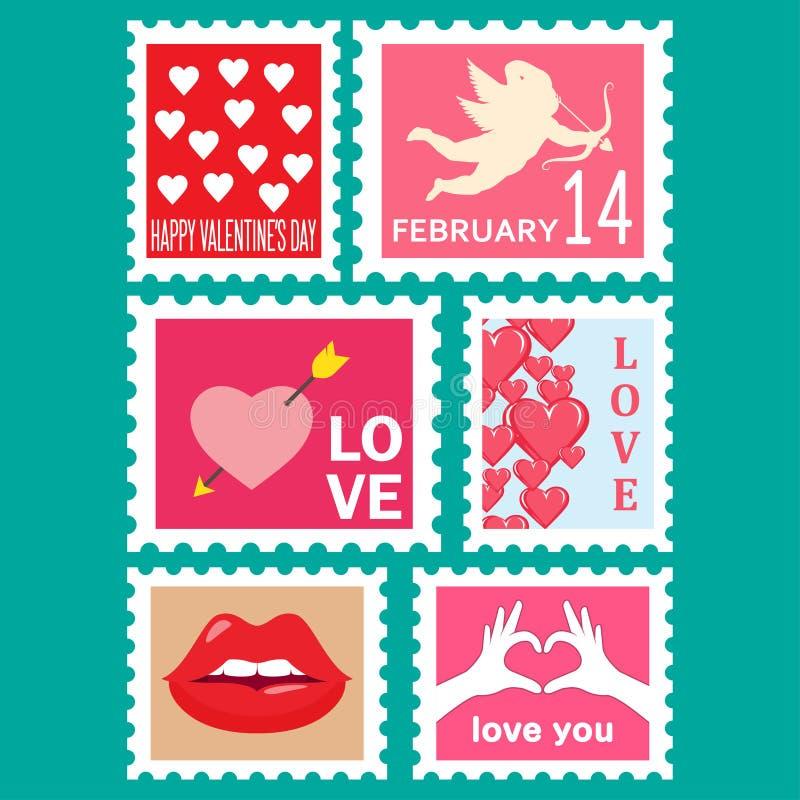 Ευτυχή καθορισμένα γραμματόσημα ημέρας βαλεντίνων απεικόνιση αποθεμάτων