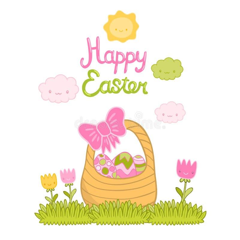 Ευτυχή καλάθι και αυγά κινούμενων σχεδίων Πάσχας χαριτωμένα ελεύθερη απεικόνιση δικαιώματος