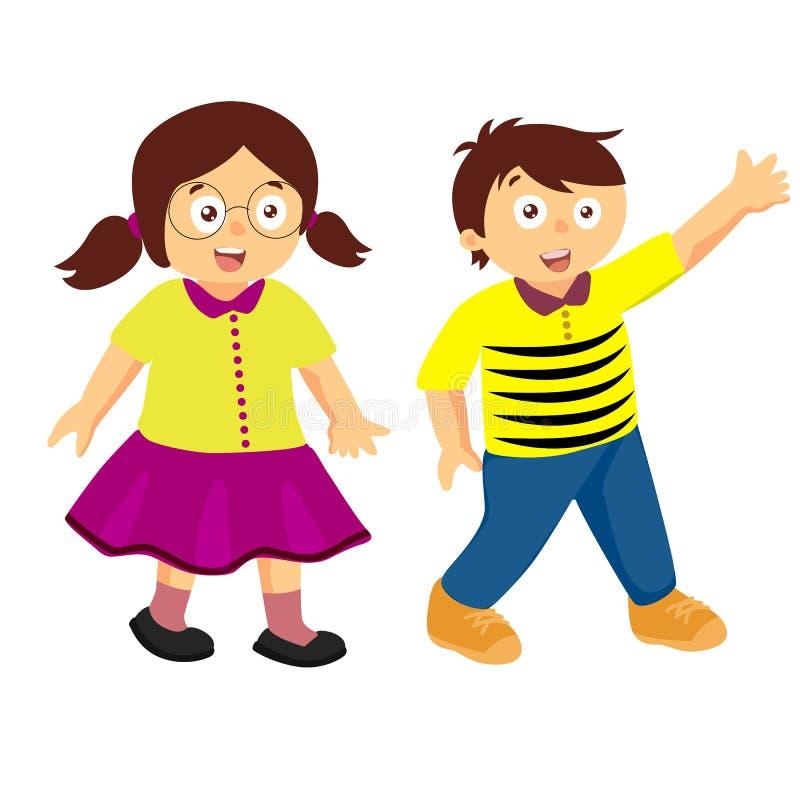Ευτυχή κινούμενα σχέδια δύο παιδιών διανυσματική απεικόνιση