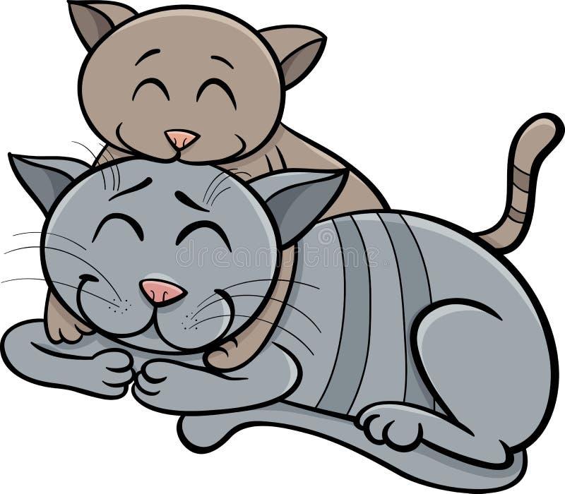 Ευτυχή κινούμενα σχέδια γατών και γατακιών απεικόνιση αποθεμάτων