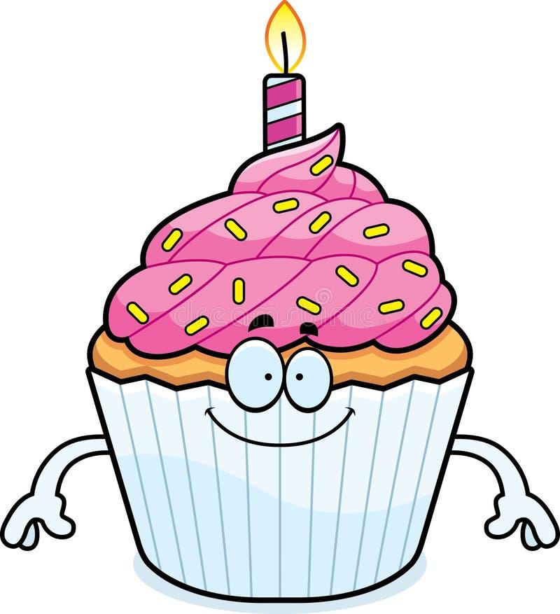 Ευτυχή κινούμενα σχέδια γενέθλια Cupcake διανυσματική απεικόνιση
