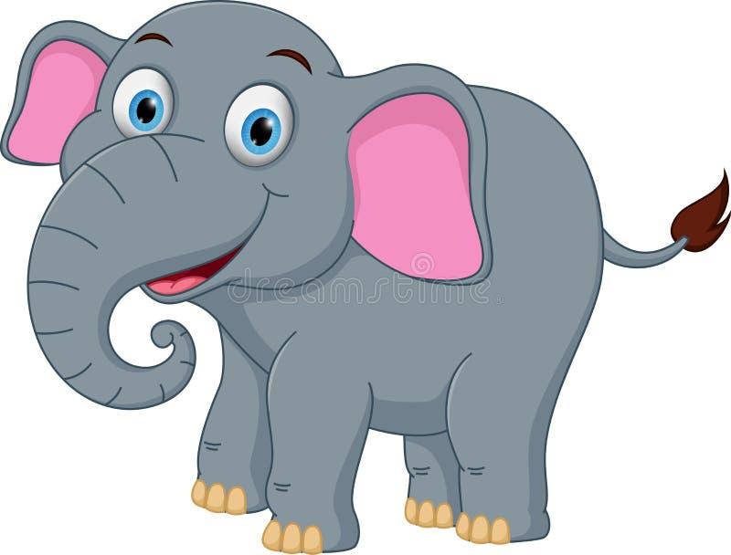 Ευτυχή κινούμενα σχέδια ελεφάντων διανυσματική απεικόνιση