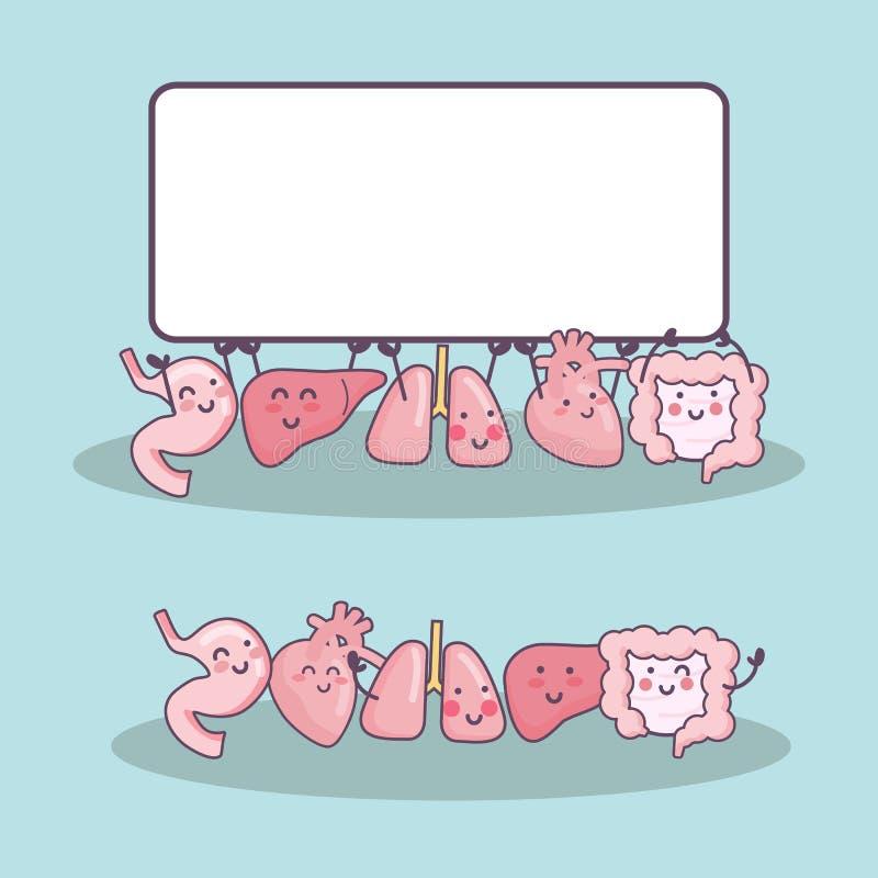 Ευτυχή κινούμενα σχέδια οργάνων με τον πίνακα διαφημίσεων διανυσματική απεικόνιση