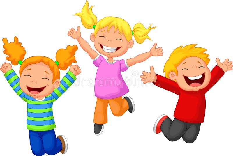 Ευτυχή κινούμενα σχέδια παιδιών διανυσματική απεικόνιση