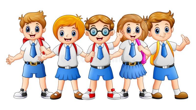 Ευτυχή κινούμενα σχέδια σχολικών παιδιών διανυσματική απεικόνιση