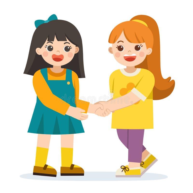 Ευτυχή κορίτσια που στέκονται και που τινάζουν τα χέρια που κάνουν την ειρήνη ελεύθερη απεικόνιση δικαιώματος