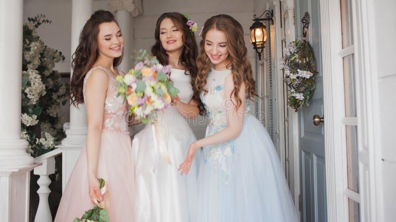 Ευτυχή κορίτσια στο γάμο του καλύτερου φίλου τους Όμορφη και κομψή νύφη με τους φίλους της στοκ φωτογραφία