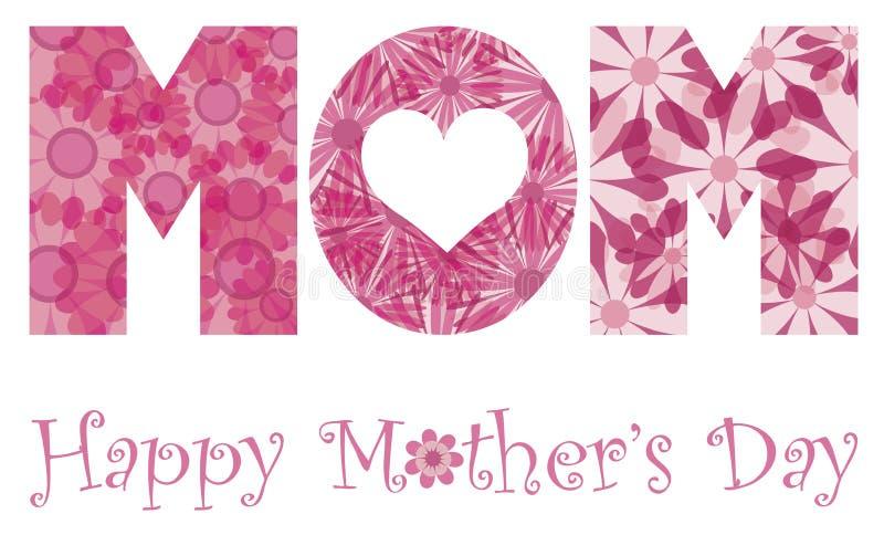 Ευτυχή λουλούδια αλφάβητου Mom ημέρας μητέρων διανυσματική απεικόνιση