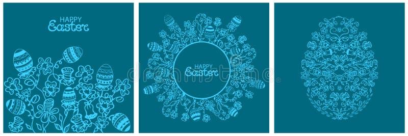 Ευτυχή λουλούδια καρτών Πάσχας και πασχαλινά αυγά Στρογγυλό floral πλαίσιο στο ύφος doodle ελεύθερη απεικόνιση δικαιώματος