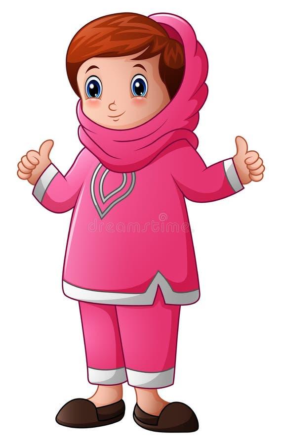 Ευτυχή μουσουλμανικά κινούμενα σχέδια κοριτσιών που δίνουν τον αντίχειρα που απομονώνεται επάνω στο άσπρο υπόβαθρο διανυσματική απεικόνιση