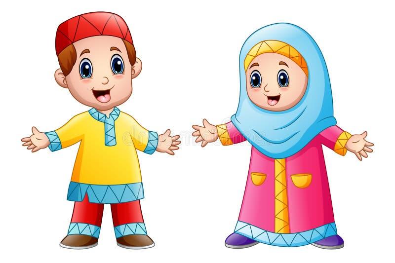 Ευτυχή μουσουλμανικά κινούμενα σχέδια παιδιών που απομονώνονται στο άσπρο υπόβαθρο ελεύθερη απεικόνιση δικαιώματος