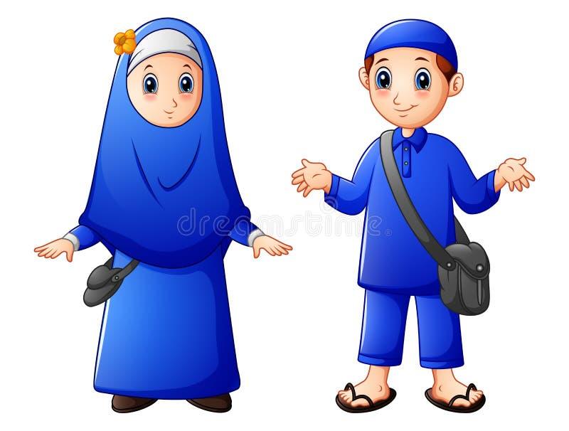 Ευτυχή μουσουλμανικά κινούμενα σχέδια παιδιών που απομονώνονται στο άσπρο υπόβαθρο διανυσματική απεικόνιση