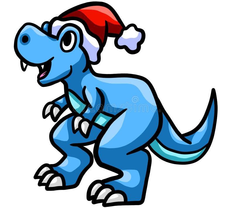 Ευτυχή μπλε Χριστούγεννα Τ Rex ελεύθερη απεικόνιση δικαιώματος