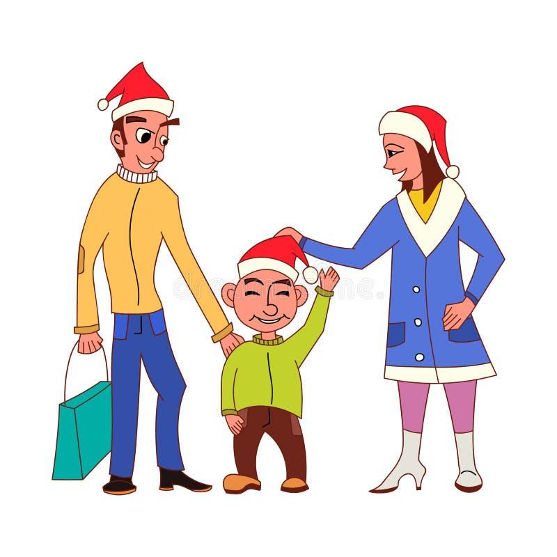 Ευτυχή οικογενειακά πηγαίνοντας Χριστούγεννα που ψωνίζουν μαζί με Άγιο Βασίλη διανυσματική απεικόνιση