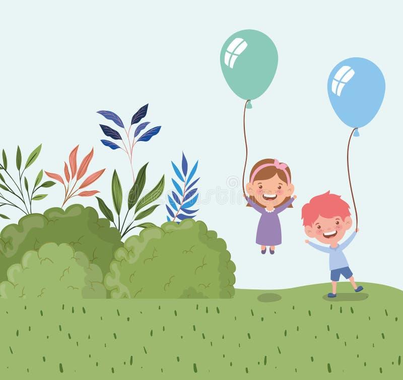 Ευτυχή παιδάκια με το ήλιο μπαλονιών στο τοπίο τομέων διανυσματική απεικόνιση