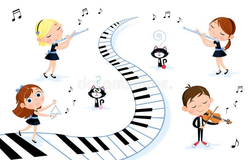 Ευτυχή παιδάκια που παίζουν τα διαφορετικά όργανα μουσικής - βιολί, φλάουτο ελεύθερη απεικόνιση δικαιώματος
