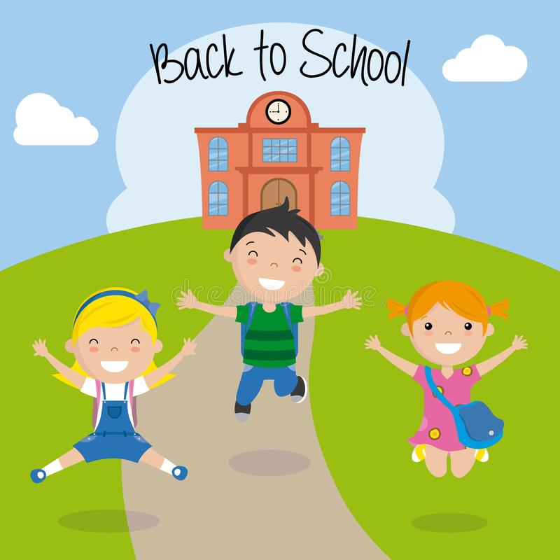 Ευτυχή παιδιά για την επιστροφή στο σχολείο διανυσματική απεικόνιση