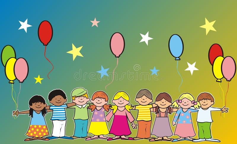 Ευτυχή παιδιά και ballons, έμβλημα, διανυσματική εικόνα διανυσματική απεικόνιση