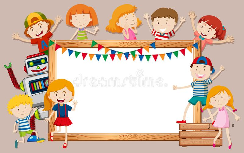 Ευτυχή παιδιά και whiteboard πρότυπο απεικόνιση αποθεμάτων