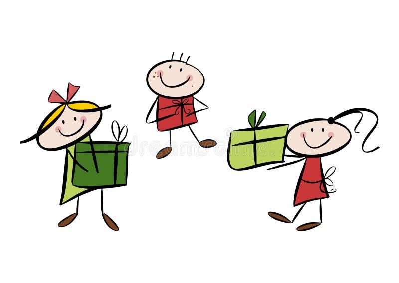 Ευτυχή παιδιά με τα δώρα διανυσματική απεικόνιση