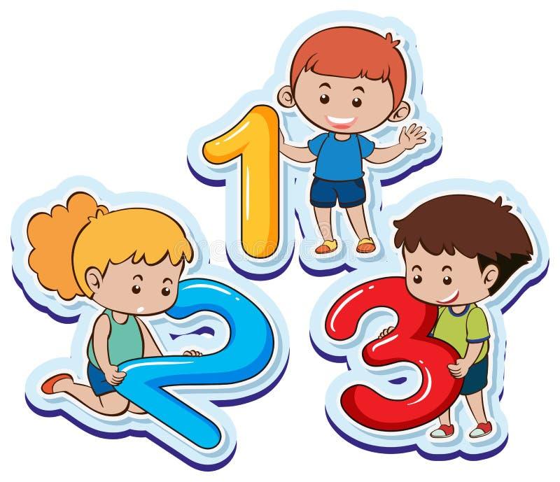 Ευτυχή παιδιά με τον αριθμό ένα δύο τρία απεικόνιση αποθεμάτων