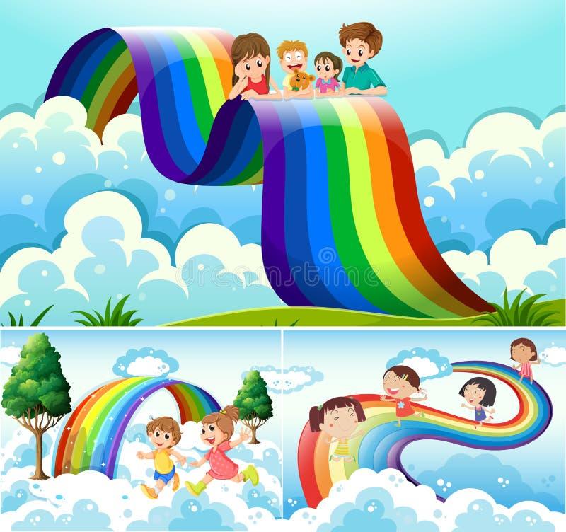 Ευτυχή παιδιά πέρα από το ουράνιο τόξο ελεύθερη απεικόνιση δικαιώματος
