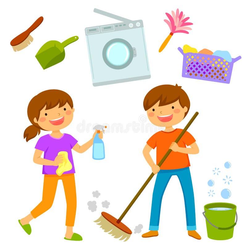 Ευτυχή παιδιά που καθαρίζουν το σπίτι διανυσματική απεικόνιση