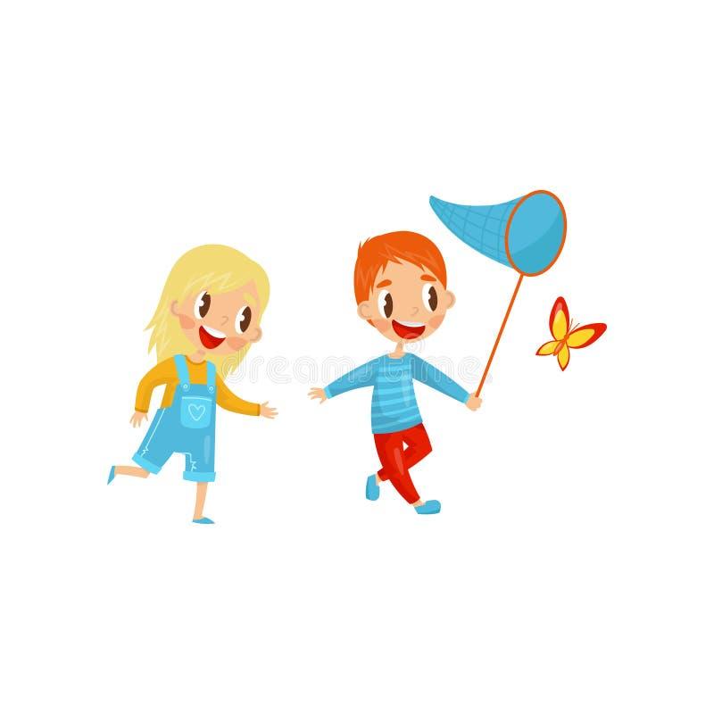 Ευτυχή παιδιά που πιάνουν την πεταλούδα χαριτωμένο κορίτσι αγοριώ Ενεργός θερινή αναψυχή δραστηριότητα υπαίθρια Επίπεδο διανυσματ ελεύθερη απεικόνιση δικαιώματος